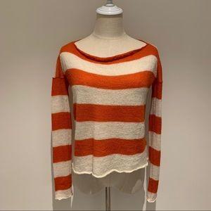Burberry Striped Scoop Neck Alpaca Sweater